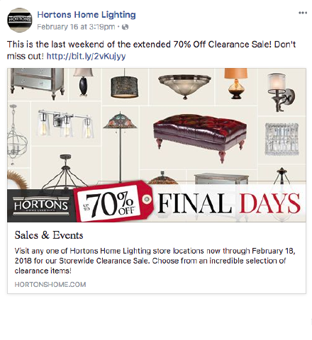 Hortons Home Lighting Facebook post