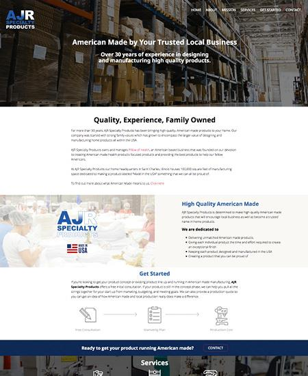 Website design for AJR Specialty Products