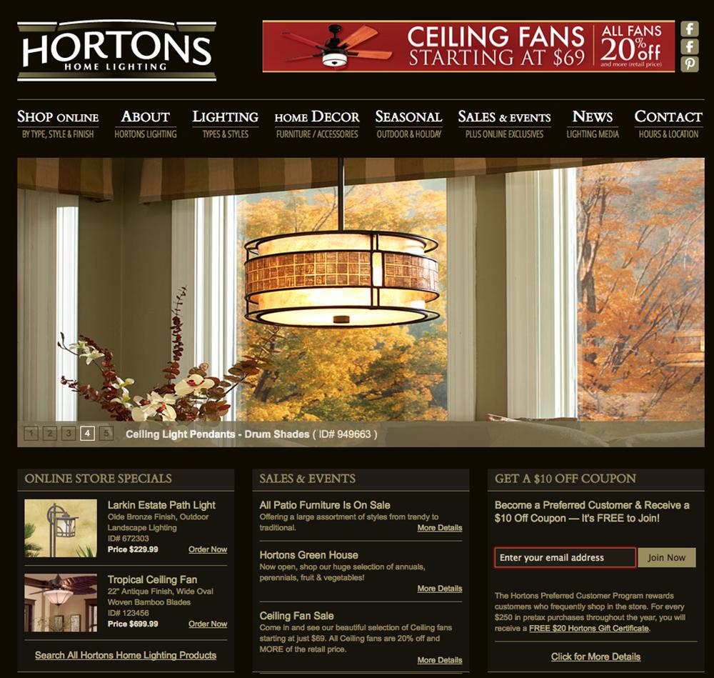 Our Portfolio Hortons Home Lighting Website Design Jet