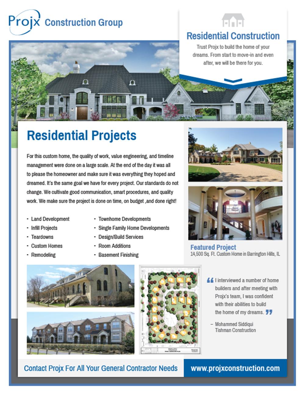 Construction Services Flyer : Our portfolio projx construction group sales flyer